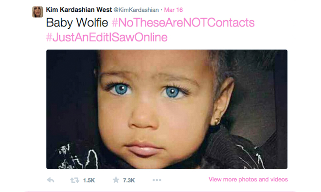 Baby North wearing contact lenses?